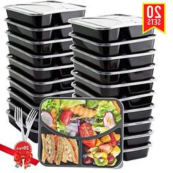 BASA Meal Prep Containers 3 Compartment with Lids and 20 Fre
