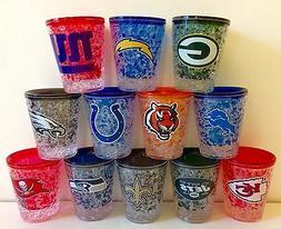 NFL Freezer 2 oz Shot Glass With Team Color Logo NEW!!