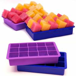 Perfect Size Silicone Ice Cube Tray, Set of 2, FREEZERS,No O
