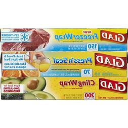 Glad Plastic Food Wrap Variety Pack, 420 Square Feet , 3 Cou