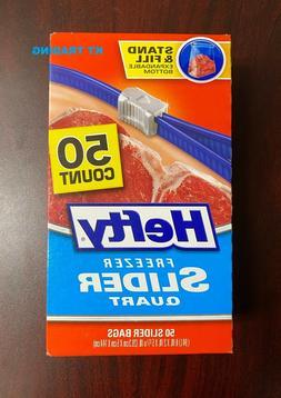 Hefty Quart Freezer Slider Food Bags Expandable Bottom Stron