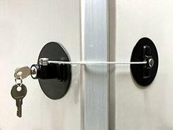 MUIN DL-B Refrigerator Door Lock with 2 Keys-Black