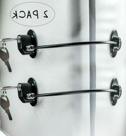 2 Pack Refrigerator Door Locks with 4 Keys, File Drawer Lock