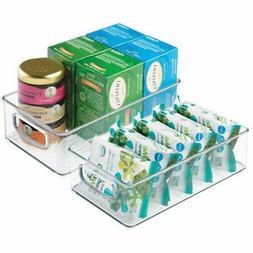 mDesign Stackable Plastic Kitchen Pantry Cabinet, Refrigerat