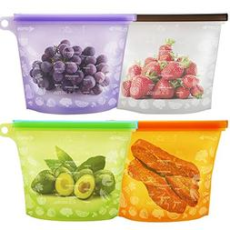 Leson Reusable Food Bags Silicone Food Storage Containers Ve