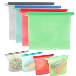 Keadic 4Pcs Reusable Silicone Food Preservation Bag Kit Seal