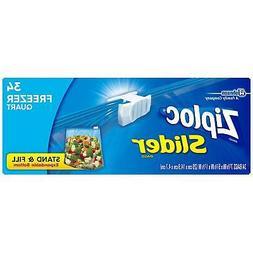 Ziploc Slider Quart Freezer Disposable Food Storage Bags, 34