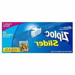 Ziploc Slider Zipper Freezer Storage Bags, Gallon, 45 Ct W