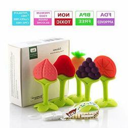Baby Teething Toys, Soft Silicone Natural BPA Free Fruit Tee