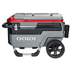Igloo Trailmate Liddup Wheeled Lighted 70 Quart Cooler, Silv