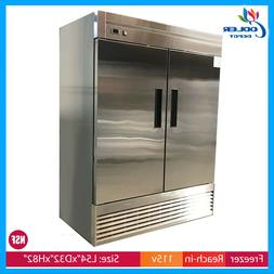 Two Door Freezer Commercial Reach In Stainless Steel NSF New