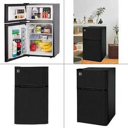 Two Door Mini Fridge with Freezer RCA 3.2 Cu Ft Black Stainl