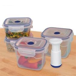9-pcs Vacuum Food Storage Containers, Rectangular