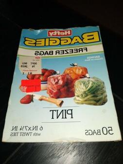Vintage 80s Hefty Baggies Freezer Bags pint Size 50 Bags w T