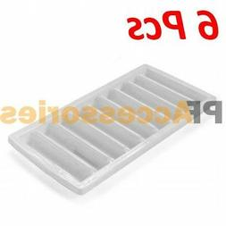 6 Pcs White Ice Cube Stick Tray Fit Sport Water Bottle Cylin
